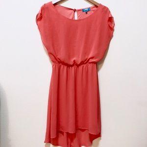 Coral Chiffon Dress with Keyhole Back - worn once